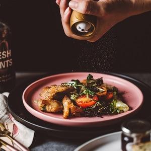 Image 3 - ירי צילום מזון כלי שולחן מוצק צבע קרמיקה צלחות פשוט & יצירתיות בשר צלחת עגול קינוח צלחת סלט מנות