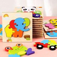 Bebek oyuncakları ahşap 3d bulmaca Tangram şekiller öğrenme karikatür hayvan zeka yap-boz oyuncaklar çocuklar için eğitici