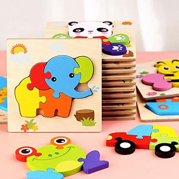 Zabawki dla dzieci drewniane Puzzle 3d Tangram kształty nauka Cartoon zwierząt inteligencja Puzzle zabawki dla dzieci edukacyjne tanie i dobre opinie skxnier CN (pochodzenie) Unisex 3 lat Drewna 3D PUZZLE Wood TM0536 Baby Wooden Toys Cartoon Animal