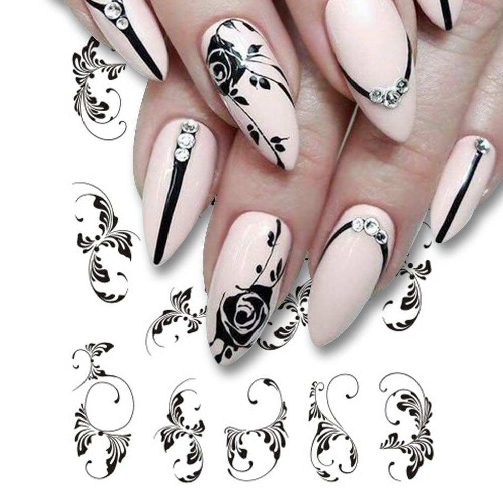 черно белая картинка дизайна ногтей самыми