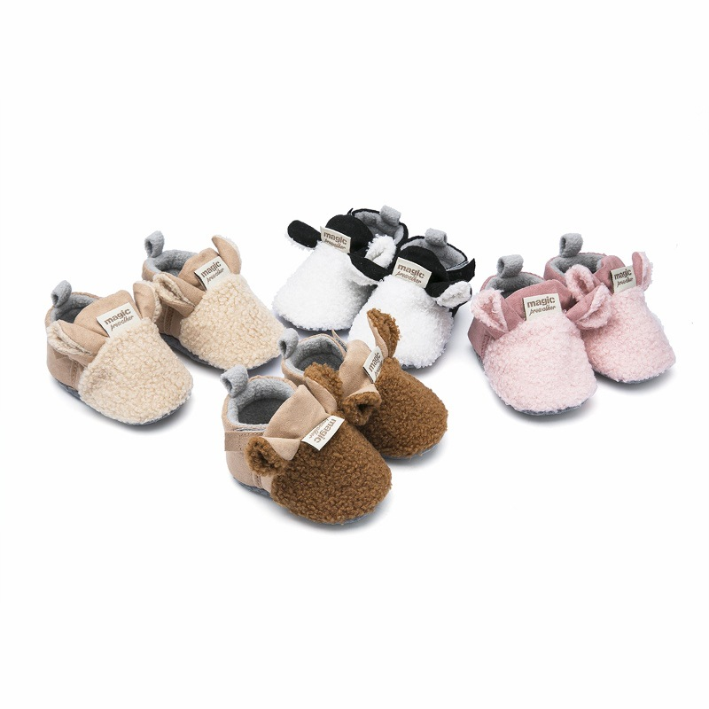 2019 Brand New Toddler Newborn Baby Crawling Shoes Boy Girl Lamb Slippers Prewalker Trainers Fur Winter Animal Ears First Walker