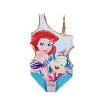 Bañador Floral de sirena de dibujos animados para niña pequeña, traje de baño de un hombro, ropa de playa para niños, ropa de baño de una pieza