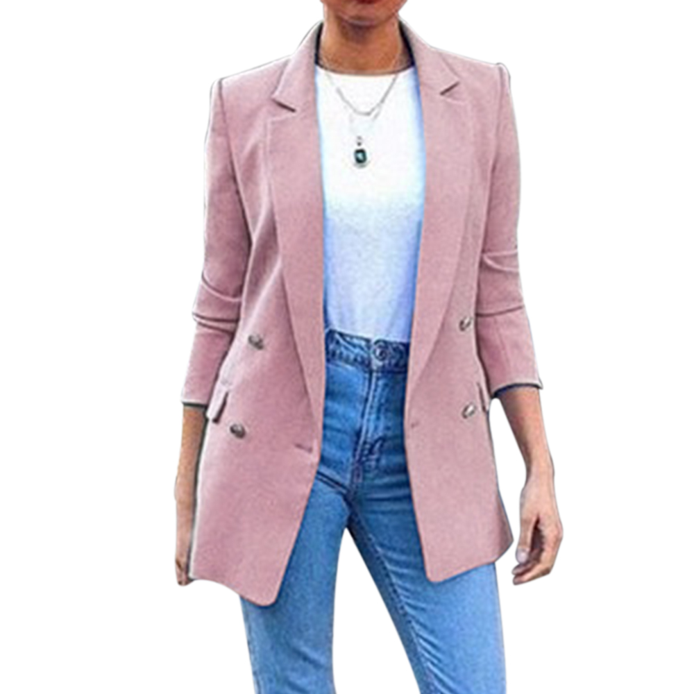 Womens Suit Jackets Long Solid Coats Office Ladies Turn Down Collar Jackets Casual Female Outerwear Suit Blazer