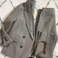 Autumn Clothing Large Size Women's 2019 New Woolen Suit Thick Section Professional Blazer Femme Trousers Set Pants Outfit f2298