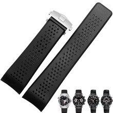 Pulseiras de relógio para tag heuer carrera silicone borracha à prova d22 água das mulheres dos homens 22 24mm pulseira de relógio acessórios relógio cinto