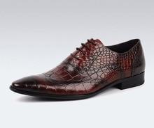 QYFCIOUFU Brogue Formal Shoes Men Genuine Cow Leather Dress Shoes Retro Pointed Toe Oxford Lace-up Crocodile Skin Wedding Shoe