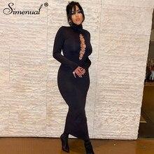 Simenual-Vestidos largos ajustados de cuello alto para mujer, vestidos largos ajustados de manga larga con aro, ahuecados, ropa Sexy de noche para discoteca, color negro sólido, oferta
