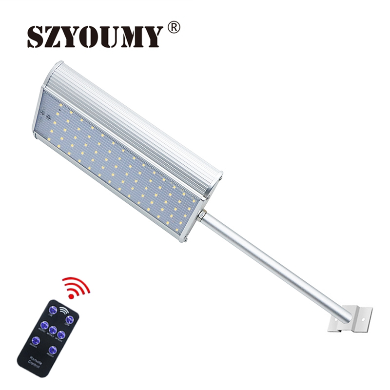 SZYOUMY <font><b>70</b></font> <font><b>LED</b></font> <font><b>Solar</b></font> Lamps 1100LM Super Bright Outdoor Solor Light Waterproof Radar Motion Sensor With 5 Modes Remote Controller image