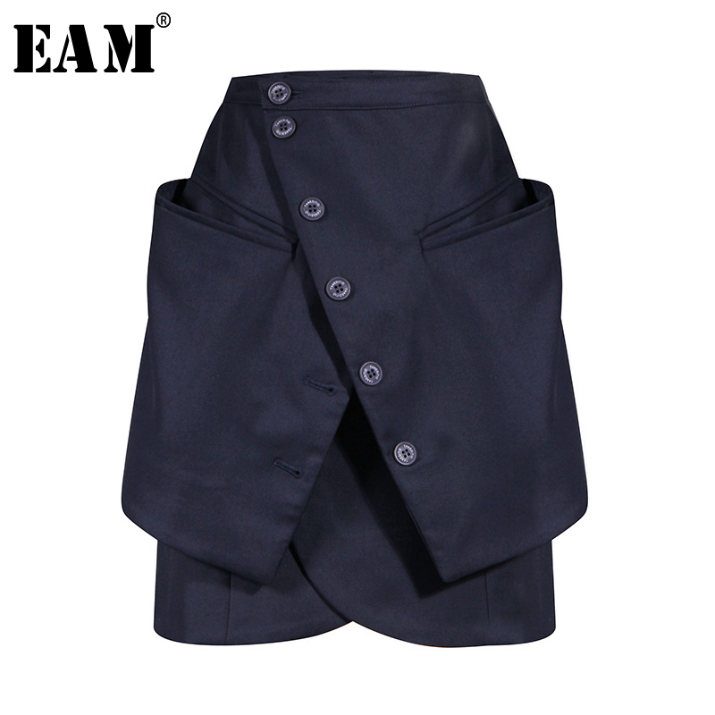 [EAM] High Waist Dark Blue Button Irregular Pocket Split Half-body Skirt Women Fashion Tide New Spring Autumn 2020 1U777
