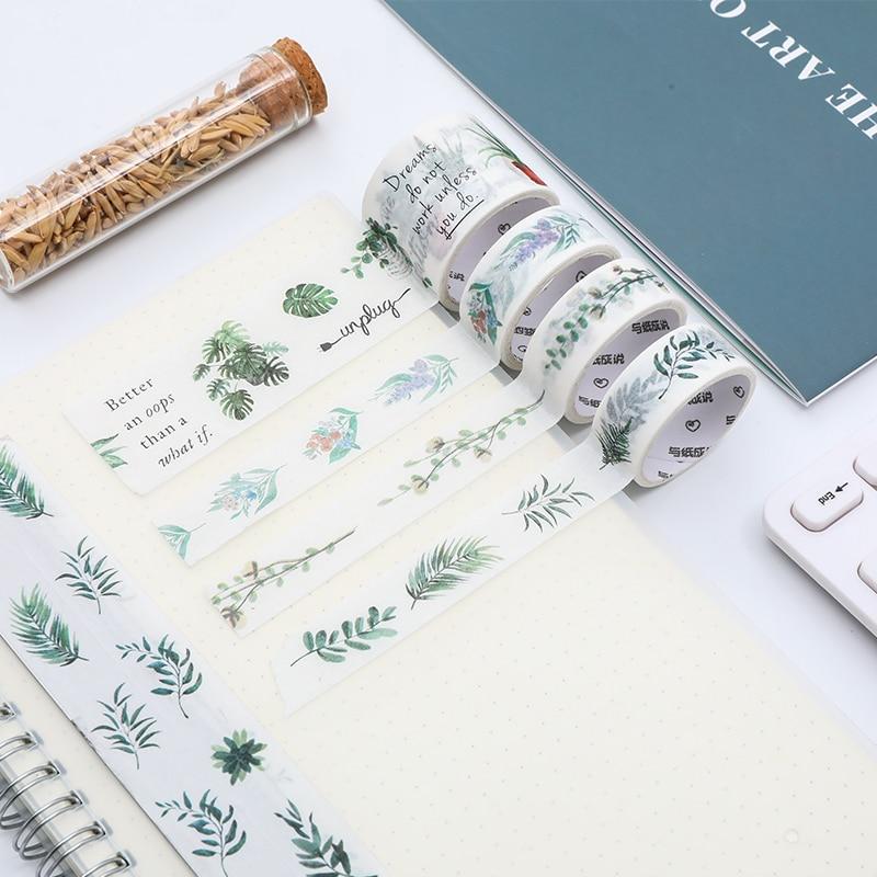 4pcs/lot Vintage Plant Masking Tape Kawaii Washi Tape Bullet Journal Sticker Sakura DIY Stickers Scrapbooking  Stationery Supply