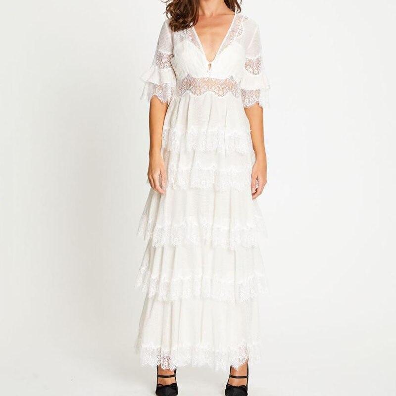 Azul branco longo casamento vestidos pista 2019 queda senhoras vestidos de renda elegantes - 3