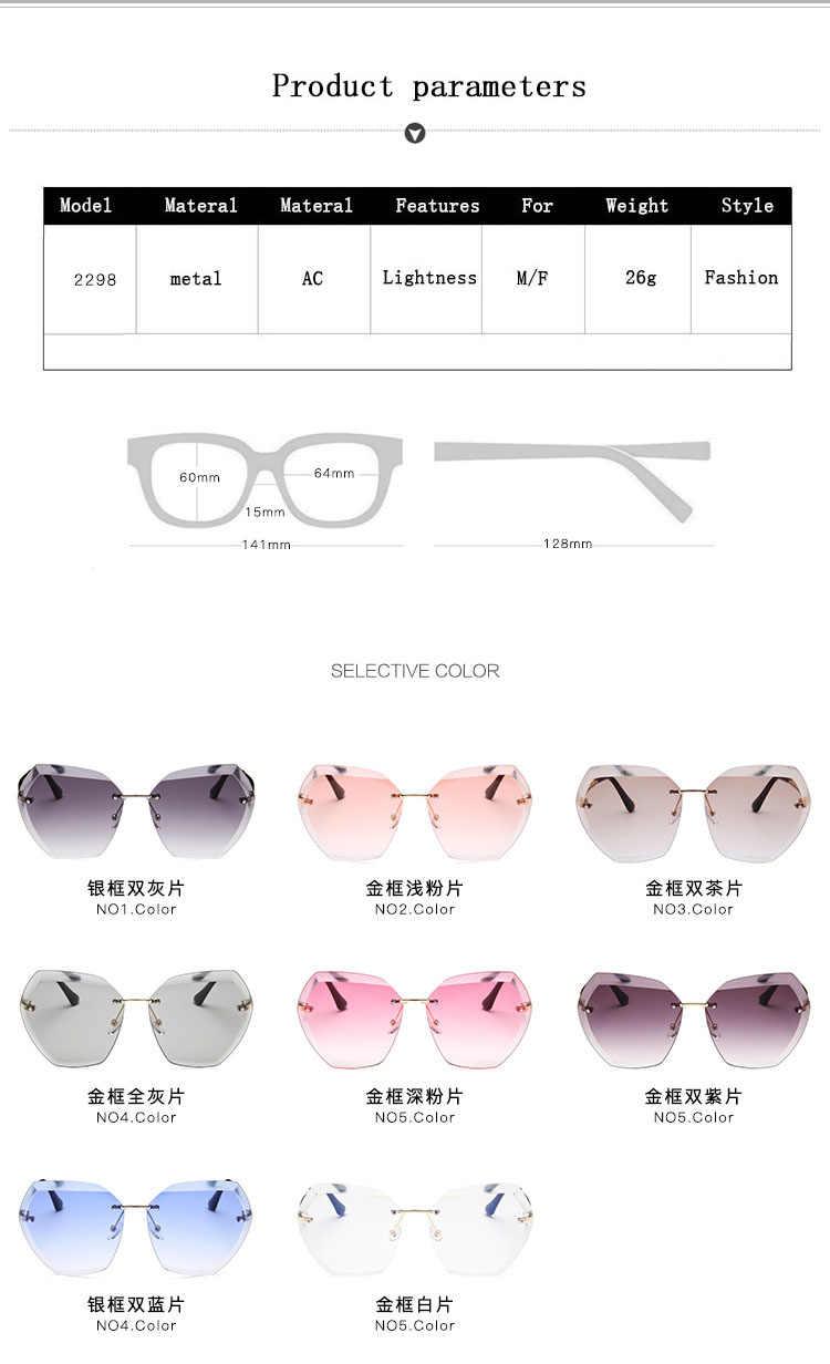 2020 Nieuwe Hoge Qulity Vrouwen Randloze Vierkante Zonnebril Metal Shades Fashion Luxe Sexy Zonnebril Vrouwelijke Dames Brown Eyewear