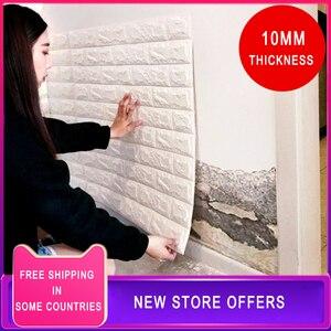 5 sztuk/partia grube 10mm 3D naklejki ścienne z cegły DIY Decor samoprzylepne wodoodporne tapety dla dzieci pokój sypialnia naklejki 3D cegły