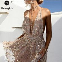 Reaqka sexy vestidos de lantejoulas mulheres sem costas halter preto ouro mini vestido de festa 2020 recém chegados borla vestido de verão club wear
