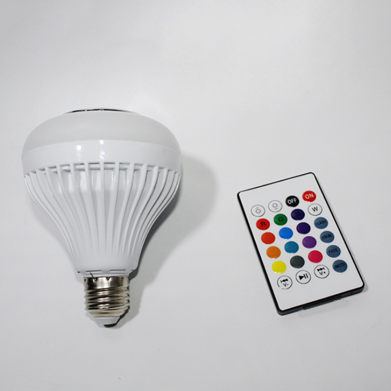 New E27 Wireless Bluetooth Speaker 12W RGB Bulb LED Lamp 110V 220V Smart Led Light Music Player Audio With Remote Control MF999