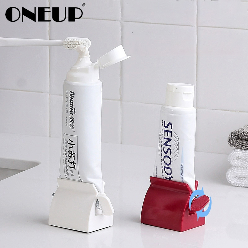 ONEUP Multifunctional Toothpaste Tube Press Squeezer Plastic Toothpaste Dispenser Tooth Paste Holder Bathroom Accessories Set