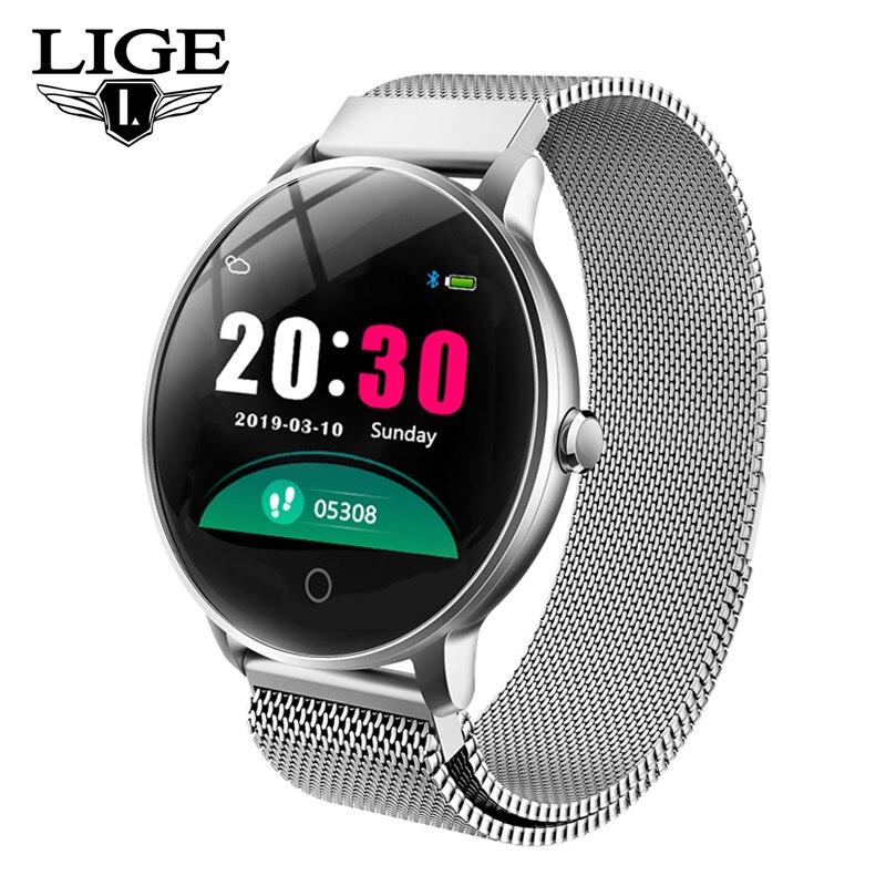 LIGE Nova Tela Colorida OLED Smartwatch Relógio Inteligente Homens mulheres Moda pulsera Rastreador De Fitness monitor de Freqüência Cardíaca inteligente + Box