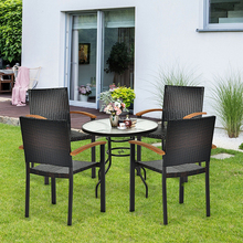 Set of 4 Outdoor Patio Mix-brown PE Rattan Dining Chairs with Powder-coated Steel Frame Ventilation Garden Patio Chairs cheap CN(Origin) Solid 23 5 x 22 x 34 5 (L x W x H) OP70690 Garden Chair Minimalist Modern Rattan Wicker Outdoor Furniture China