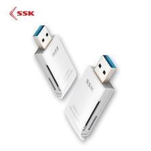 SSK USB 3.0 2 في 1 قارئ بطاقات عالية السرعة USB 3.0 SD/ Micro SD/SDXC/TF/T Flash ذاكرة محوّل قارئ البطاقات SCRM331