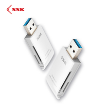 SSK USB 3.0 2 in 1 Card Reader ความเร็วสูง USB 3.0 SD/ Micro SD/SDXC/TF/T Flash Card Reader อะแดปเตอร์ SCRM331