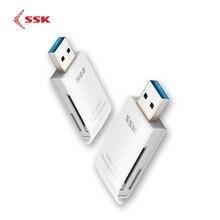 SSK lecteur de cartes mémoire 2 en 1 USB 3.0 (SCRM331), lecteur de cartes mémoire haute vitesse, SD/ Micro SD/SDXC/TF