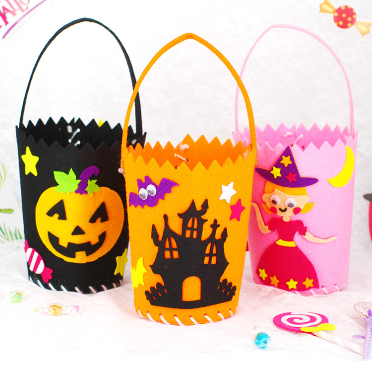 Halloween Handmade Diy Felt Portable Candy Bag Kindergarten Carft Set Toys For Children Kid Craft Materials Creativity