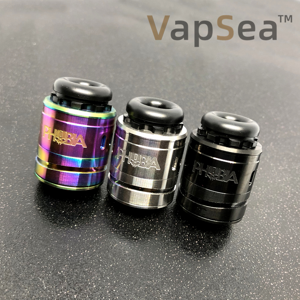 Phobia V2 MTL RDA Atomizer 24mm Diameter Angled Downward Airflow Holes Easy To Build For Single Coil Or Dual Coils