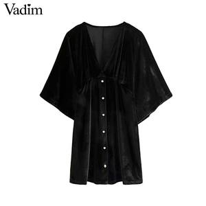 Image 1 - Vadim 女性のエレガントなベルベットミニドレス v ネック半袖ボタン a ラインパーティークラブ摩耗の女性のカジュアルドレス vestidos QD058