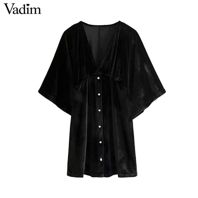 Vadim 女性のエレガントなベルベットミニドレス v ネック半袖ボタン a ラインパーティークラブ摩耗の女性のカジュアルドレス vestidos QD058