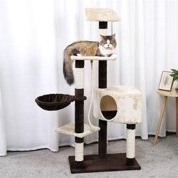 Luxus Katze klettergerüst Baum mit Sisal-Abgedeckt Kratzer Beiträge Katze Turm Möbel Kitty Aktivität Zentrum Kätzchen Spielen Haus