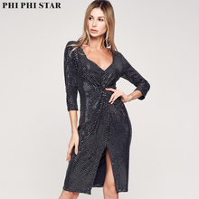 Phi Star Brand Sequin Dress Women Sexy Solid V Neck Autumn Dresses
