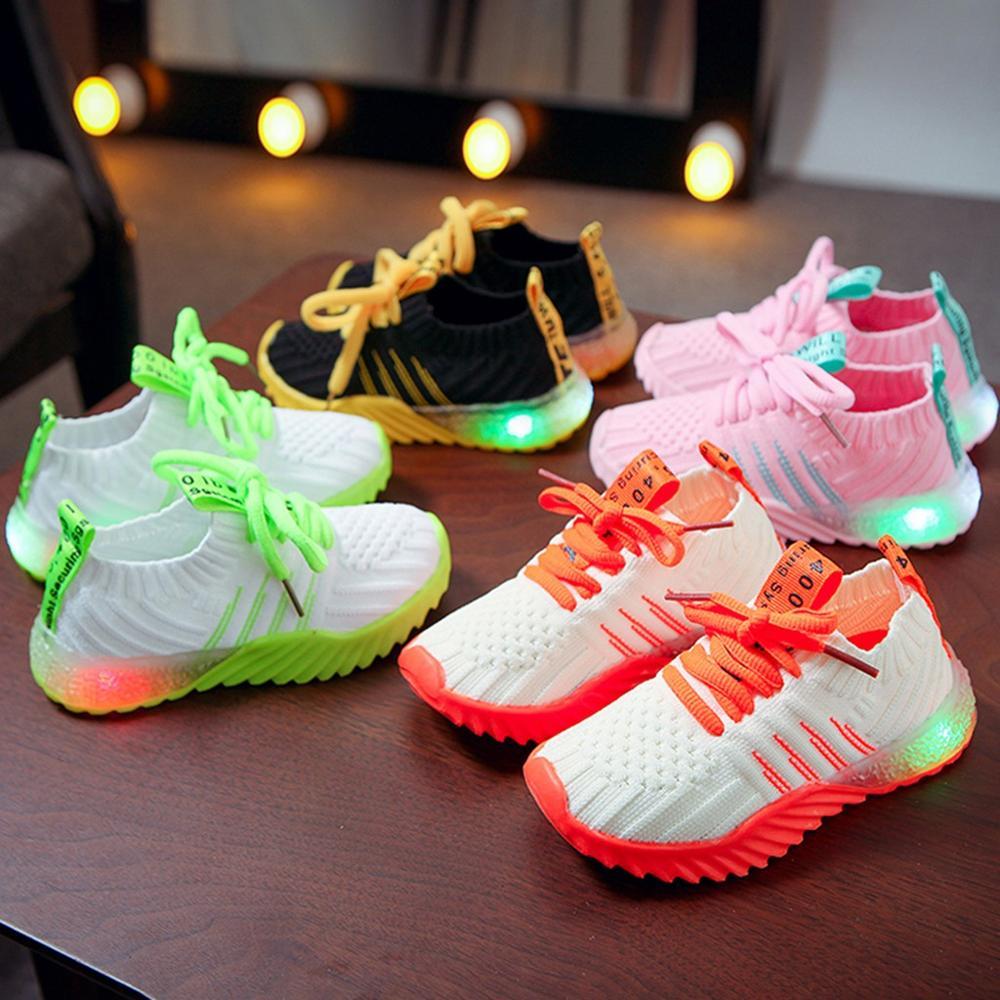 Baby Fashion Casual Anti Slip Shoes Kids Boys Girls Led Luminous Striped Running  Shoes Kids Sneakers Children Running Shoes