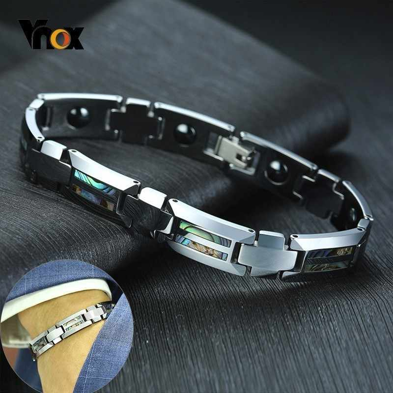 Vnox Magnificence Shell Insert Bracelets for Men Tungsten Carbide Business Office Style Gentleman Accessory Casual Bracelet