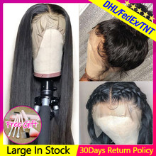 Perruque Lace Frontal wig naturelle péruvienne Remy | Cheveux lisses, 13x4 13x6, perruque Lace Front wig, pre-plucked, avec Baby Hair, pour femmes africaines(China)