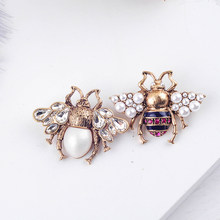 Bohemia New Tendency Fashion Imitation Pearls Red/White Color Glass Bee Insect Brooch For Women Statement Jewelry Wholesale(China)