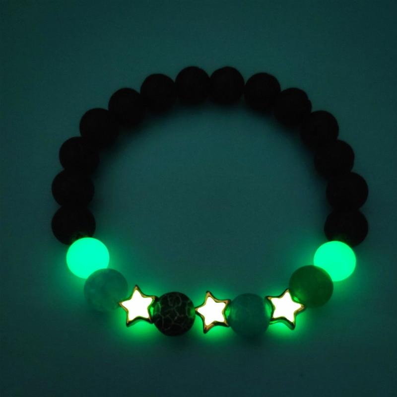 Luminous Pentagram Natural Volcanic Stone Bracelets Men Women Glowing In The Dark Jewelry Classic Bracelets Accesory