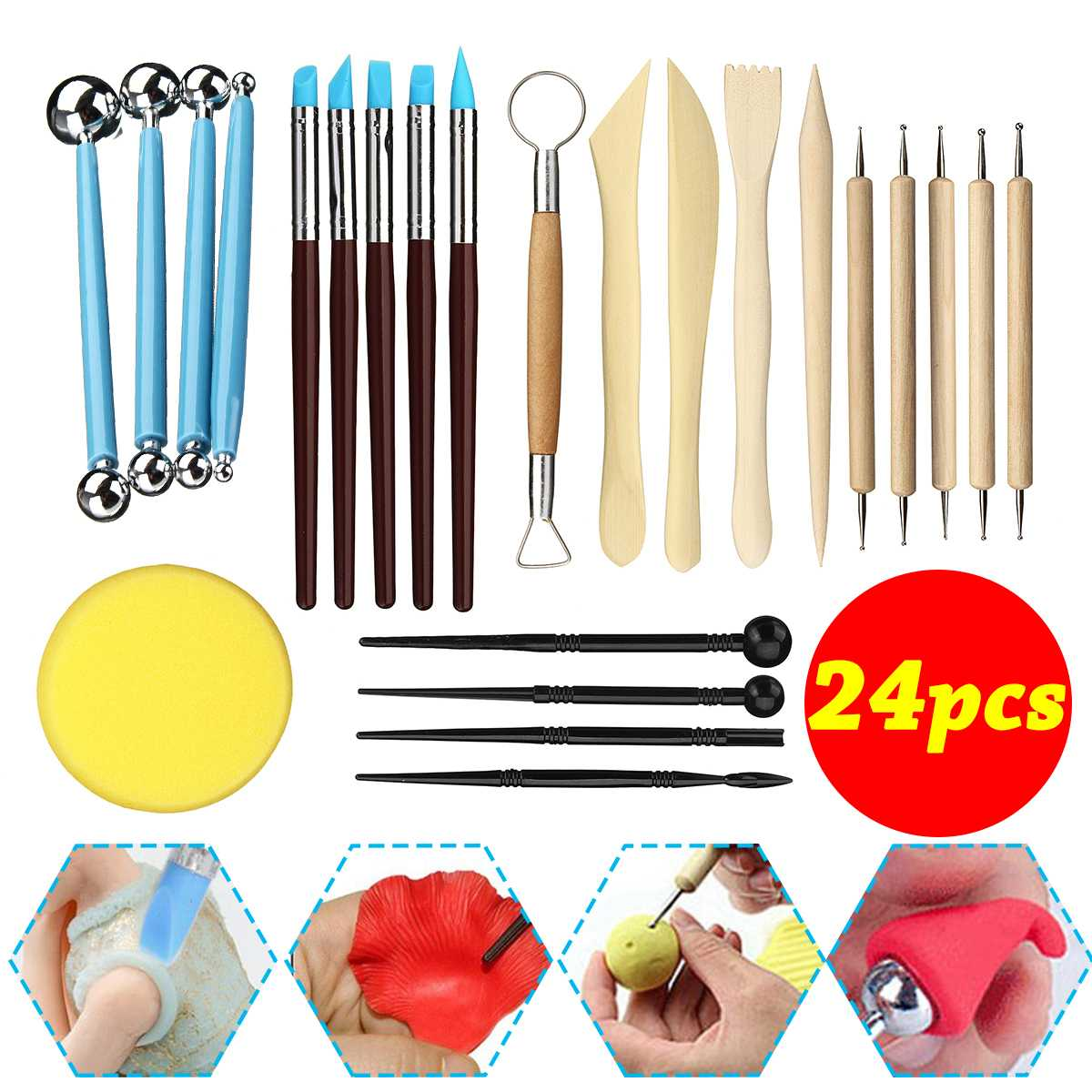 24 Pcs Clay Sculpting Tools Set Ball Stylus embossing Pottery & Ceramics Tools DIY Arts Crafts lines Carving Modeling Tool gift