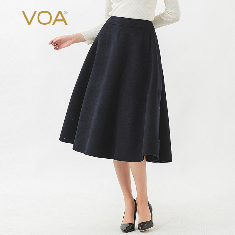 VOA Double-Sided 14.75 Micron Small Cashmere Metal Zipper Natural Waist over-the-Knee Big Hemline Circle Umbrella Skirt SC937