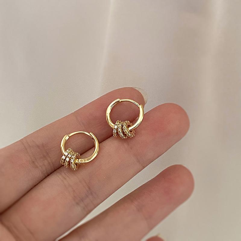 2020 New Fashion Trend Three Round Zircon Earrings Elegant Temperament Beautiful Jewelry