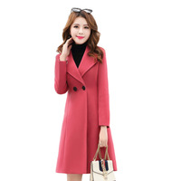 Long Coats Dames Jassen Winter Imitate Woolen Coat Women Manteau Femme Hiver Temperamental Slimming Solid Female Coats