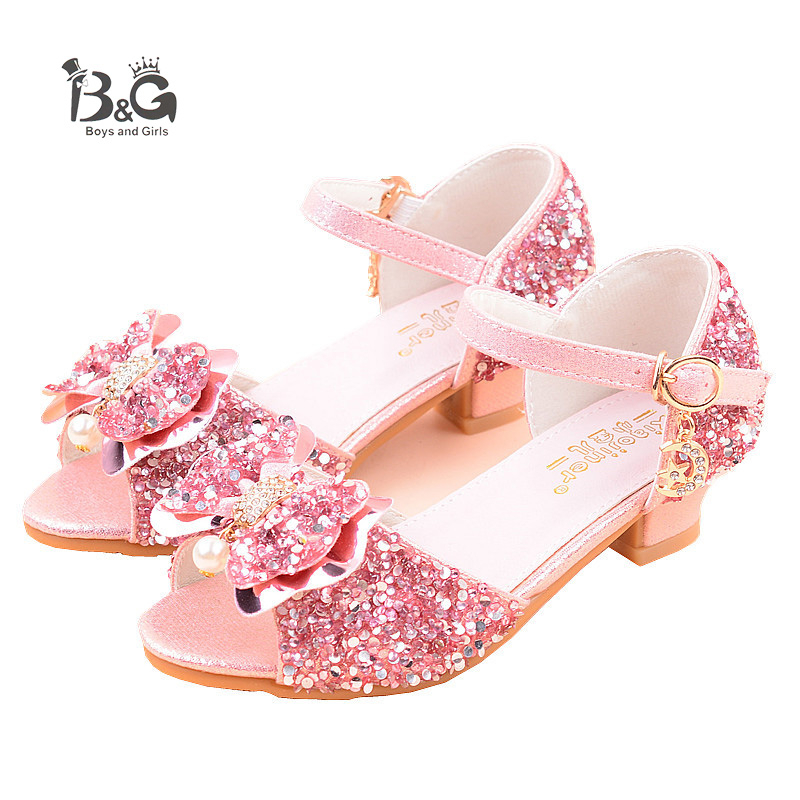 B&G Girl Princess Sandals Fashion Breathble Peep-toe Kids Shoes Soft Antislip Silvery Stage Shoes