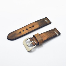 20mm 22mm 24mm 26mm Handmade Italian Brown Vintage Genuine Leather Watch Band Strap for pan Men Watchband Strap for PAM