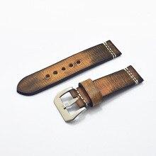 Pulseira de relógio de couro genuíno, pulseira italiana marrom de 20mm 22mm 24mm 26mm feito à mão pulseira para pa
