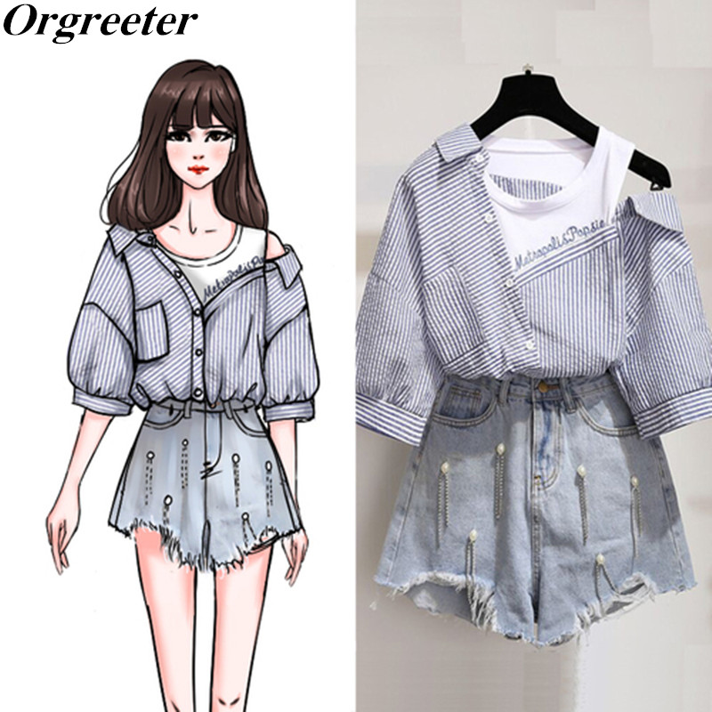 Two Pieces Denim Shorts Sets Summer Sweet Korean Off Shoulder Striped Tops And Beaded Tassel Slim Jean Shorts Tracksuit Women