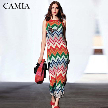 CAMIA Womens Rainbow Knitted sweater Dresses Striped Super Elastic Maxi Long Summer Female Sleeveless Beach Party Dress Fashion