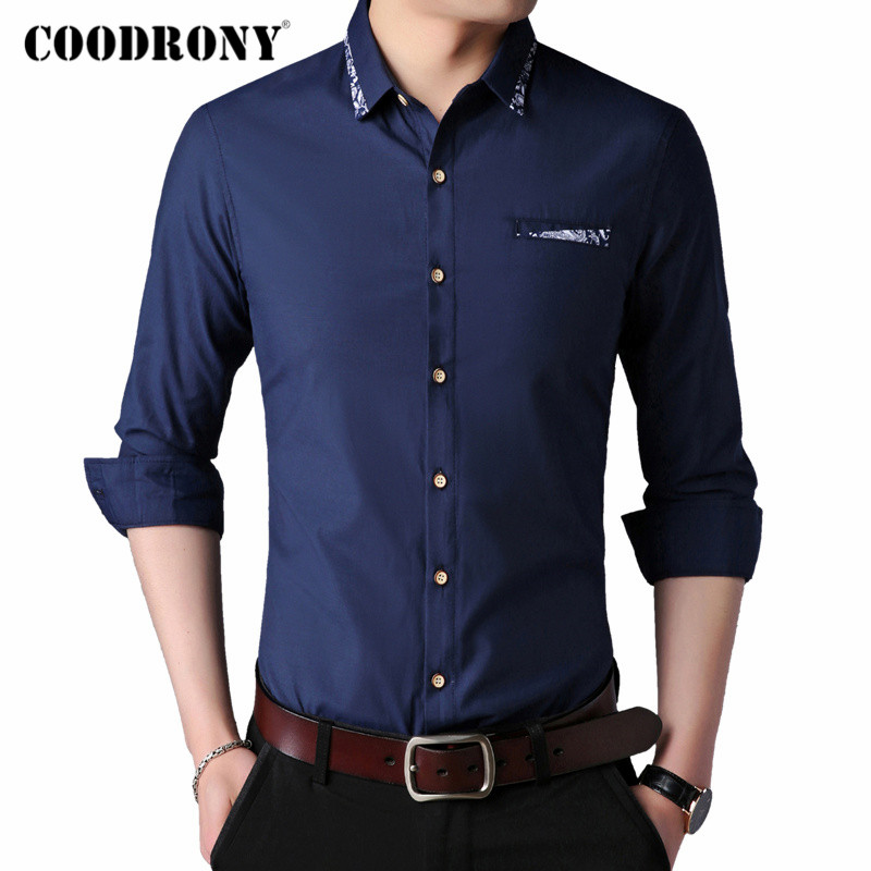 COODRONY Brand Long Sleeve Shirt Men Clothes Spring Autumn Mens Shirts Business Casual Camisa Social Masculina With Pocket C6015