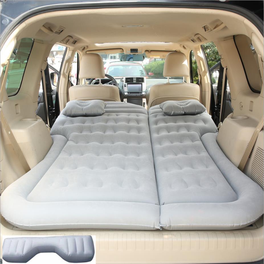 Car SUV Air Inflatable Travel Bed Mattress Back Seat Sofa Pillow Camping Mat Cushion Outdoor Beach Rest Sleeping Pad Universal