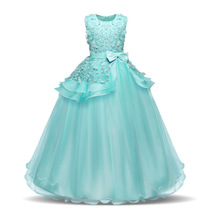 Vintage Flower Bow Girls Dress for Wedding Evening Children Princess Party Pageant Gown Kids Dresses for Girls Formal Clothes little girl party dress ball gowns for children girls pageant gown dresses bridesmaid formal clothing kids pink princess clothes