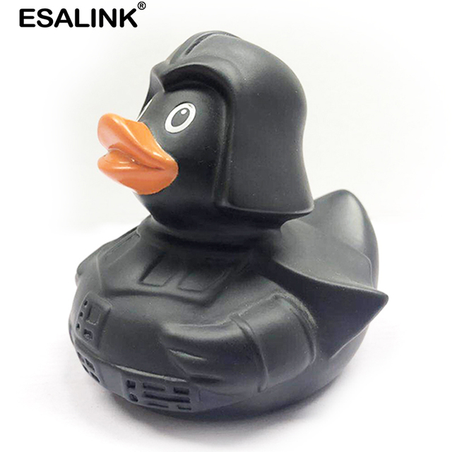 ESALINK 8Cm Baby Toys Floating Sound Rubber Duck Soldier Duck In Black Armor Bath Toys For Kids Puzzle Cognitive Toys For Girls