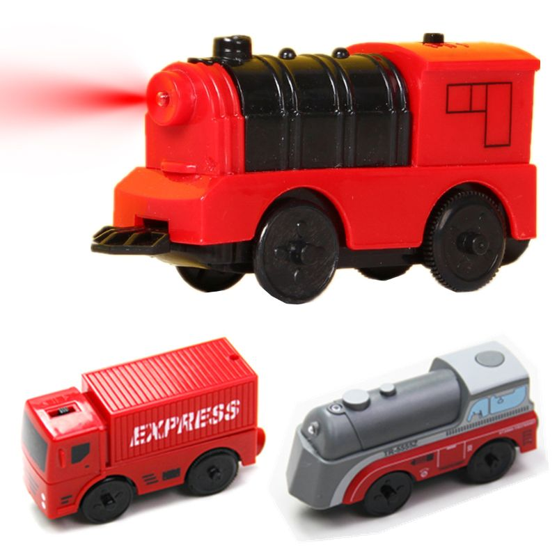 Combination Of Magnetic Electric Locomotive Train Wooden Track Accessories
